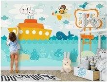 цена на 3d wallpaper custom photo mural Cartoon sea boat children's background wall Home decor 3d wall murals wallpaper for walls 3 d