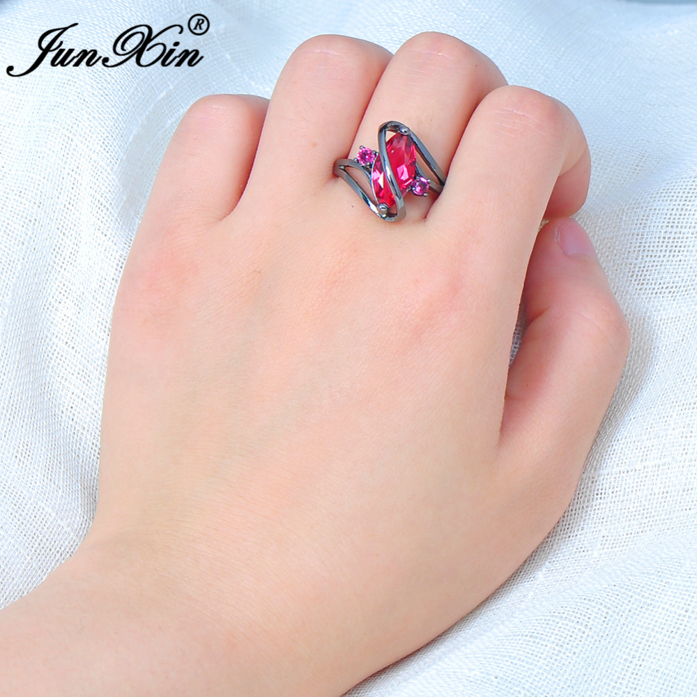 JUNXIN Big S Geometric Style Black Gold Ring Female Rose Red Ring ...