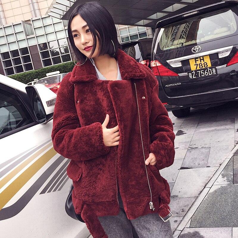 Manteau Femmes Superbe Personnalisé Chaud Nouvelle Mode Fourrure Rouge De Revers Chunky Arlenesain D'hiver Vin 2019 Laine ZH1wIxdw6q