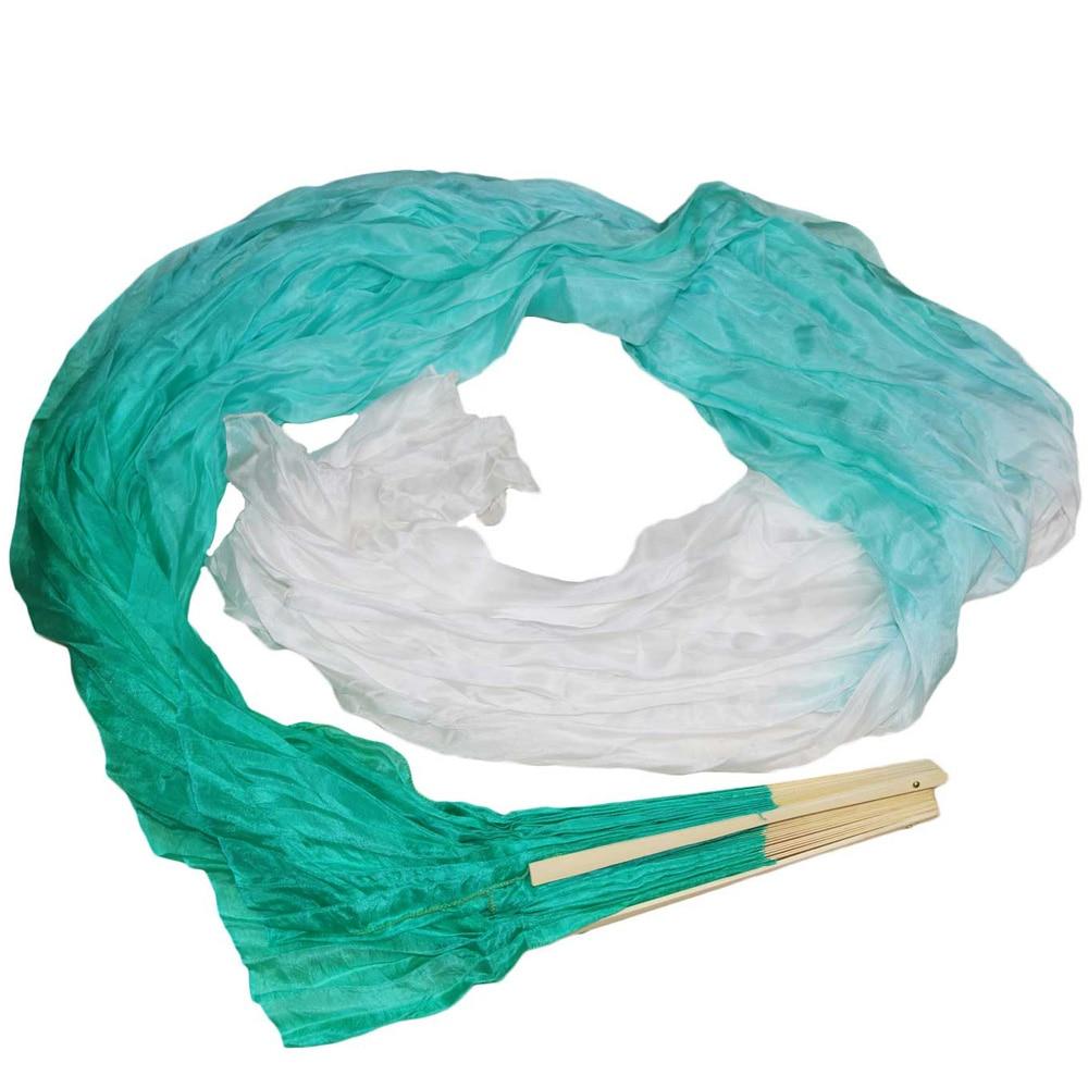 2018 Chinese silk veils dance fans handmade natural silk belly dance fans 1 x left+right hand 180x90cm Green+Light green+White