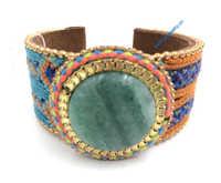 Novos Fornecedores de Jóias Europeia handmade pulseira de couro tecelagem Fósforo pedra pulseira larga para as mulheres