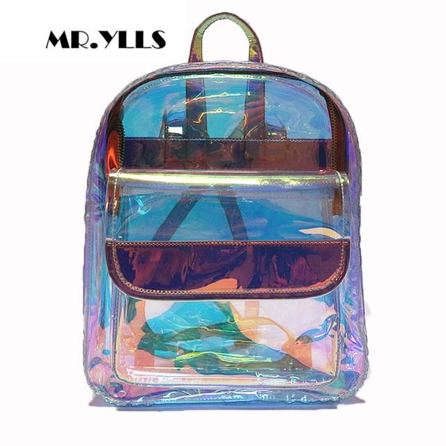 Laser Transparent Hologram Schoolbag For Teenagers Girls Brand PVC  Waterproof Women Backpack Ladies School Travel Shoulder
