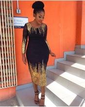 Безкоштовна доставка 2017 літо нова африканська жіноча одяг Бронзові піна Slim довгі рукави плаття