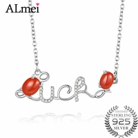 Almei 3ct Red Agate Stone Monogram Words Necklaces Lucky Word Necklace Best Gift for Friends Lover with Chain and Box 40% FN034
