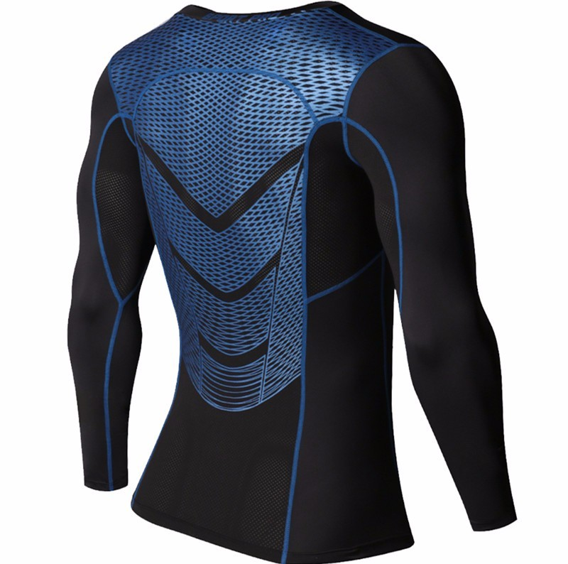 Foto of sleeve Men's compression t-shirt & pants for sport. 2 pieces Men's compression t-shirt & pants for sport