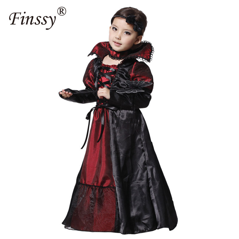 Children Girls Princess Vampire Costumes Purim Children's Day Halloween Costume for Kids Long Dress Carnival Party Cosplay
