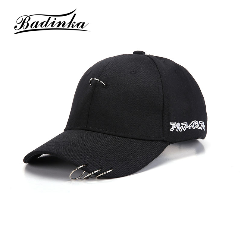 Badinka New Unisex Korean Simple Cool Fashion Baseball Caps with Solid Ring Safety Pin for Women and Men Snapback Caps Casquette