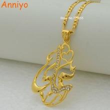 Anniyo islam pingente colares jóias árabes cor de ouro muçulmano oriente médio para mulher #203606