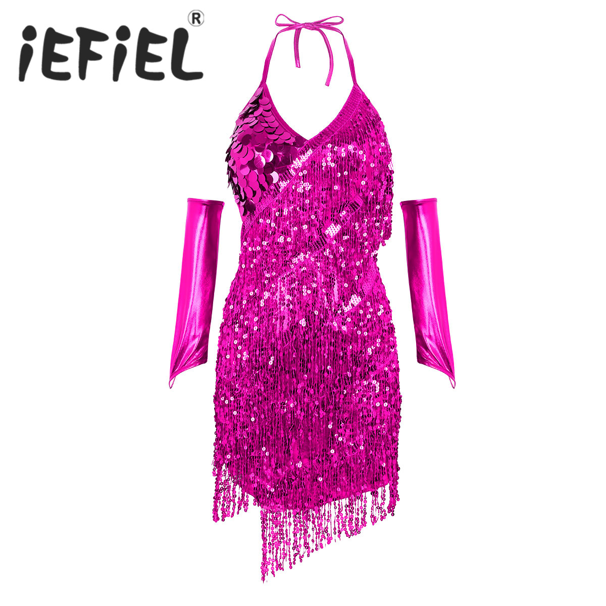 Adults Women Sparkling Sequined Sexy Latin Dance Dress with a Pair of Hand Sleeves for Stage Performance Ballet Tutu Dancewear