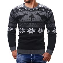 2018 Autumn Casual Men's Sweater Christmas Print O-Neck Slim Fit Knittwear Male Sweaters Brand Fashion Pullovers Men Pull Homme(China)