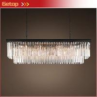 Miglior prezzo paese americano lampadario di cristallo sala da pranzo creativo rettangolare di cristallo lampada led illuminazione rh lampadario