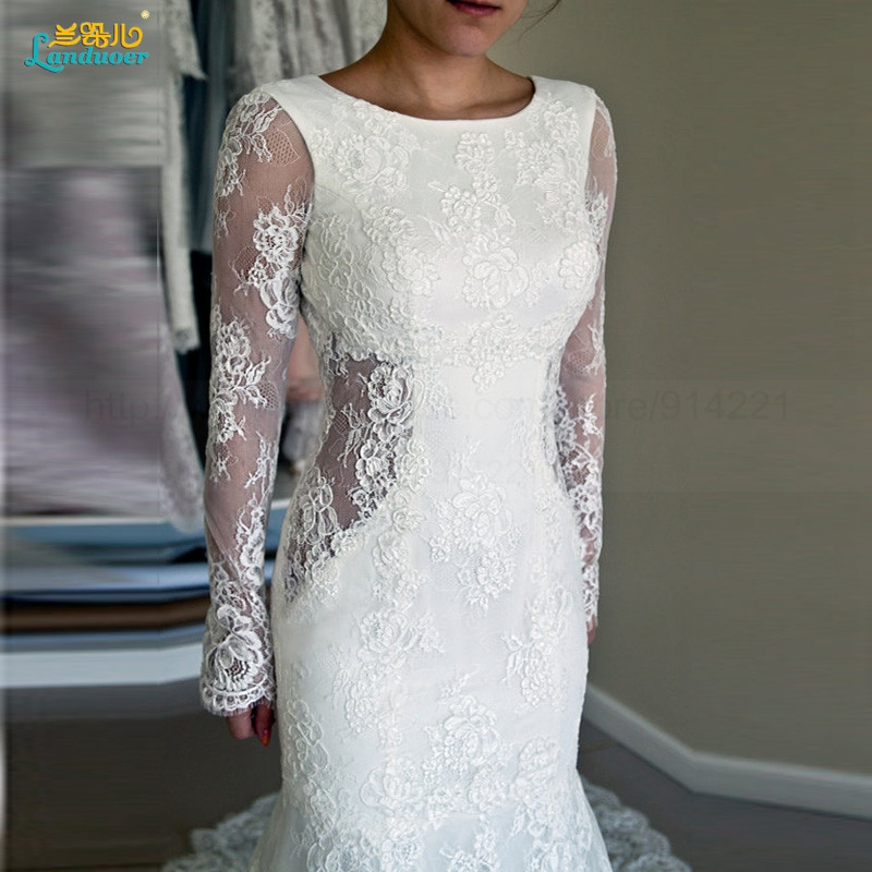 Sexy-Lace-Mermaid-Wedding-Dress-With-Long-Sleeves-New-Arrival-Fashion-Backless-Court-Train-Elegant-Bridal560