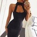 Новый 2017 Женщины Summer Party Dress Low Cut Сексуальная Ночь клуб Платья С Плеча Мини Черный Повседневная Повязки Dress Girls Vestidos