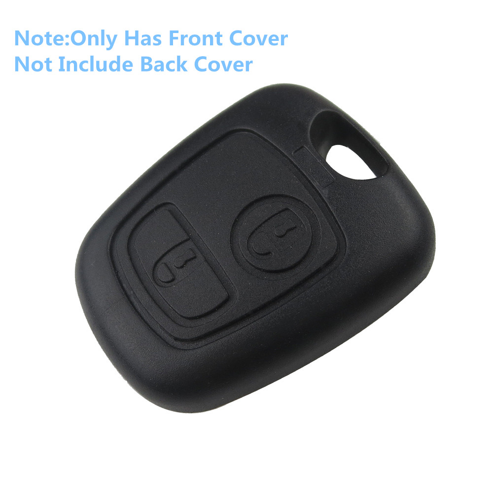 Front Car Key Shell Fob Cover Replacement 2 Button Remote Blank Cover Case For Peugeot 107 206 207 306 307 407 Citroen No Blade replacement 2 button remote key case for citroen elysee black beige