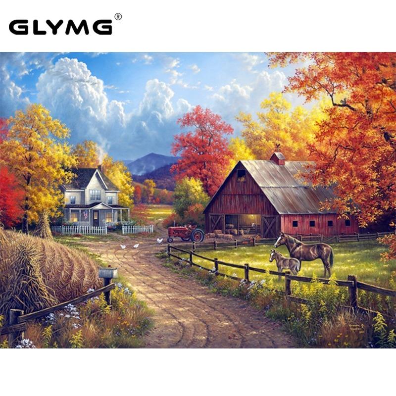 GLymg Diamond Stitch Painting Farm Autumn Landscape Diamond Embroidery Full Square Natural Scenery European Home Decoration
