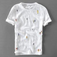 Cartoon Embroidery Stitching Linen Short Sleeve T Shirt Men Brand Casual Round Neck Elastic White Cotton