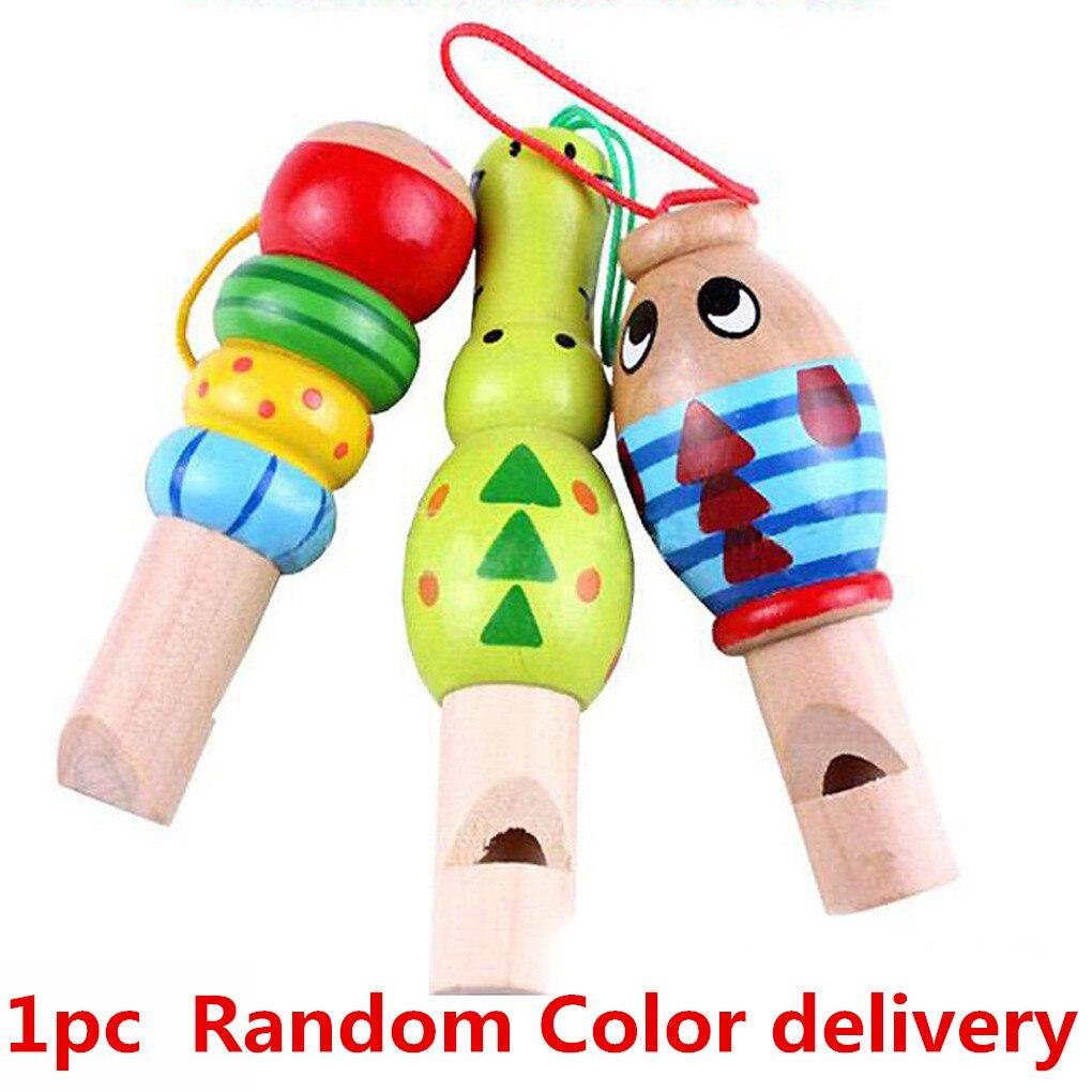 1 Pc Zufällige Farbe Cartoon Tier Pfeife Baby Holz Spielzeug Schöne Anhänger Kinder Pädagogisches Musical Instrumentstoys SchöN Und Charmant