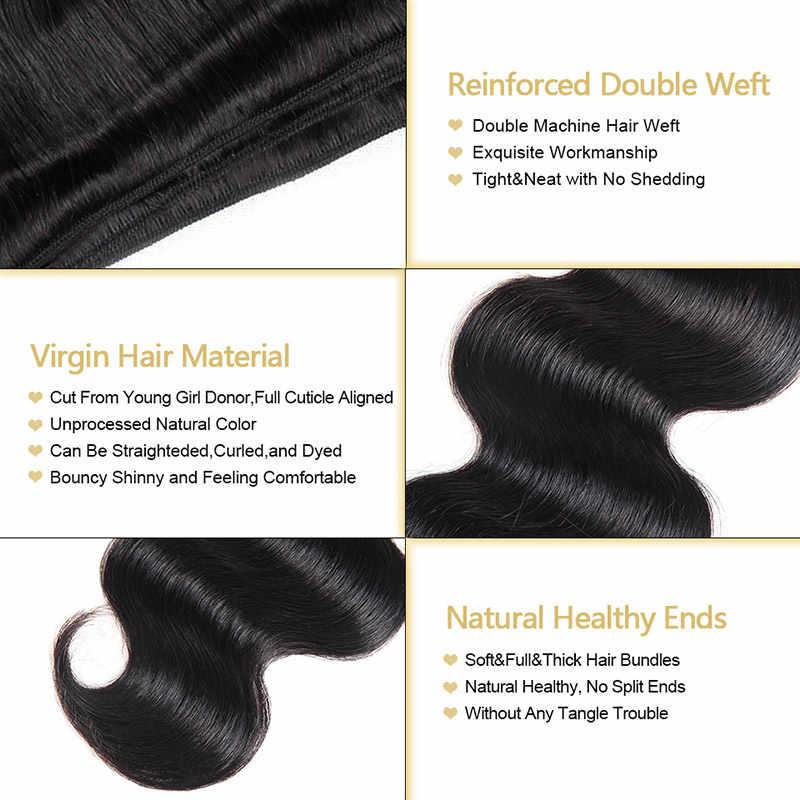 Paquetes de pelo peruano de la onda del cuerpo paquetes de pelo humano de la onda del cuerpo peruano del Color Natural sin procesar