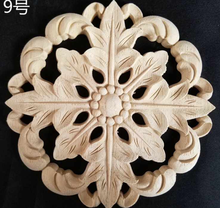 2pcs/lot Diameter:240mm. Thickness:10mm Wood Carved Circular Decals Applique Door Solid Wood Decals Flowers