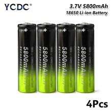 4Pcs 18650 Battery 3.7V 5800mAh Lithium Rechargeable Cell For Headlamp Torch for Laser Pen LED Flash light Cell battery holder