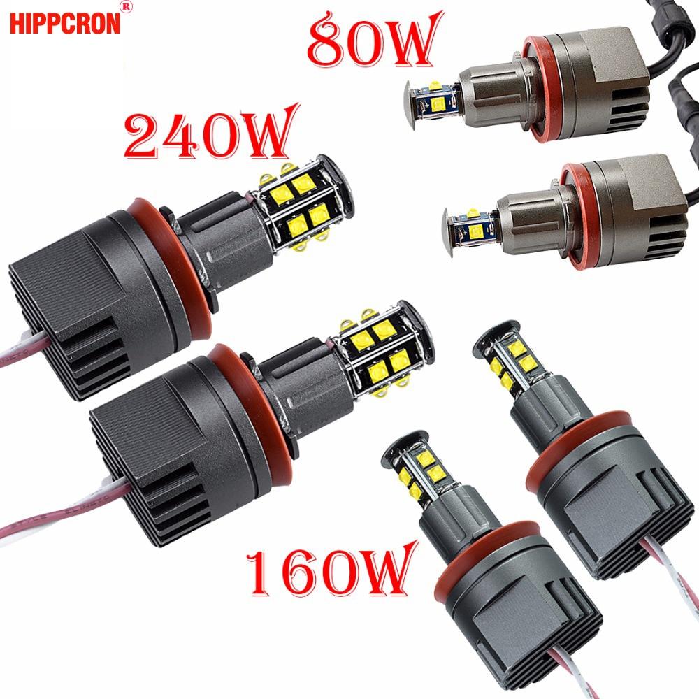 2x 80W H8 T6 CREE LED Angel Eye Halo Markeer Light For Bmw E92 E93 3s 2007-2012