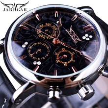 цена на Jaragar Black 3 Dials Automatic Sport Date Day Display Analog Self-Wind Watch Mens Business Leather Mechanical relogio masculino