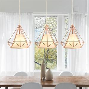 Image 2 - Single Head Diamond Shape Iron Material Ceiling Lamp Decoration Lamp No Bulb Included(Rose Gold)