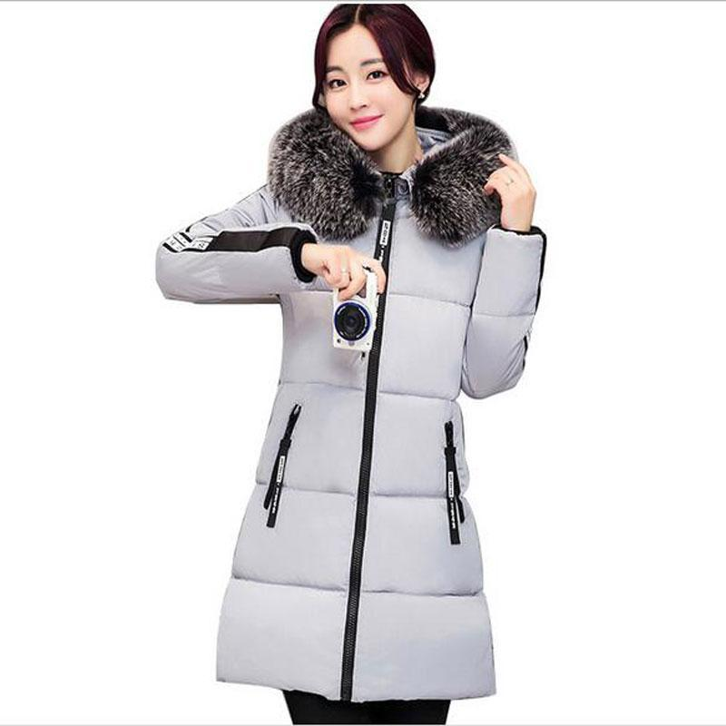 New Female winter warm down Padded Cotton jacket Women Manual Fur collar Thick Slim hooded plus size Long down jacket Coat women thick winter large size long section padded hooded outerwear new fashion fur collar slim padded cotton warm coat jacket