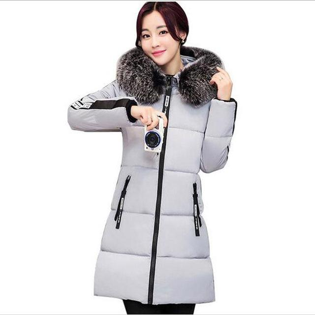New Female winter warm down Padded Cotton jacket Women Manual Fur collar Thick Slim hooded plus size Long down jacket Coat