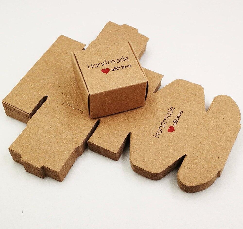50 шт 4*4*2,5 см самолет коричневый подарочная упаковка крафт-бумага упаковочная коробка ручной работы Любовь Свадьба \ ремесла \ торт \ мыло ручной работы \ коробки для конфет