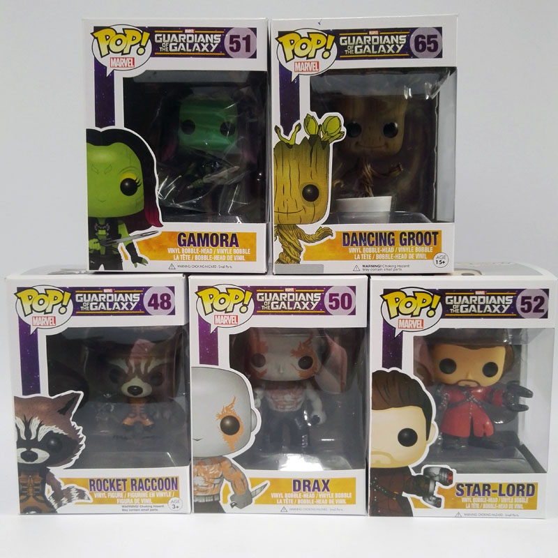 <font><b>Funko</b></font> <font><b>POP</b></font> <font><b>Guardians</b></font> <font><b>Of</b></font> <font><b>The</b></font> <font><b>Galaxy</b></font> Marvel Hot Toys <font><b>Dancing</b></font> Groot Toy <font><b>65</b></font># Gamora Star-Lord Raccoon Drax Vinyl Bobble-Head Model