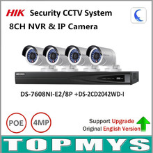 HIK 4MP IP Camera 8ch NVR Home Security CCTV System NVR DS 7608NI E2 8P IP