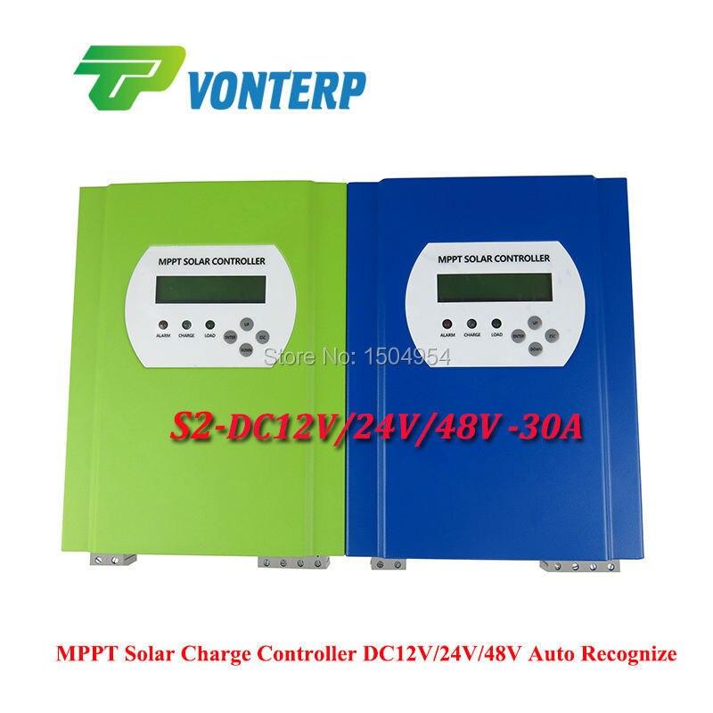 DC12V/24V/48V  MPPT 30A mppt 30A Solar charge controller, 12v 24v 48v auto work with LCD,DC load , RS232