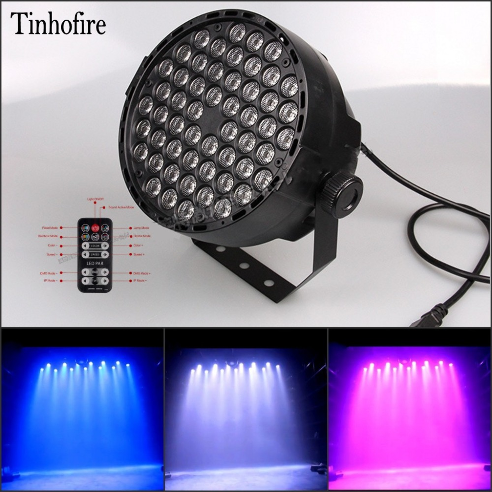 Tinhofire Remote control 60W 54  LED par light DMX-512 RGBW LED Stage Lamp Strobe Professional Party Disco KTV Stage Light 2pcs dj disco par led 54x3w stage light dmx strobe flat luces discoteca party lights laser rgbw luz de projector lumiere control