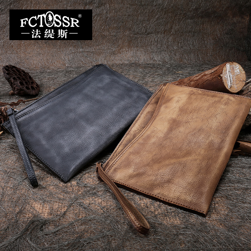 Women Clutch Bags 2019 Retro Genuine Leather Casual Clutch Purse Solid Colors Handmade Natural Leather Ladies Wristlet Wallets image
