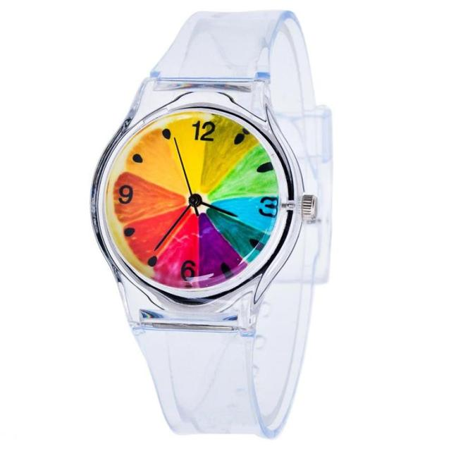 Kids Lovely Pattern Transparent Silicone Gel Band Quartz Wrist Watch For Student