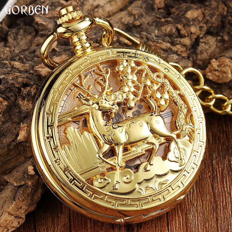 Luxury Golden Flower Deer Carving Design Mechanical Pocket Watch FOB Waist Chain Hollow Steampunk Skeleton Hand Wind Mens Clock