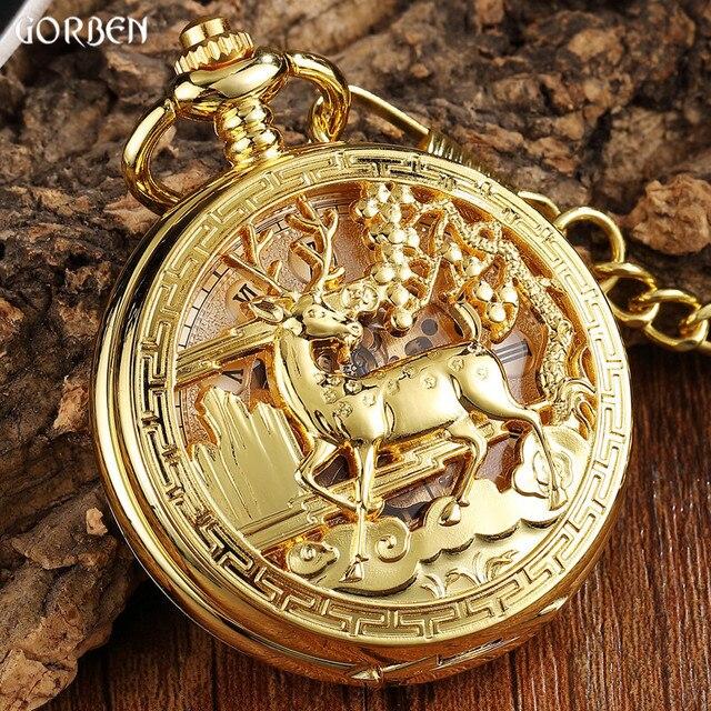 Luxury Golden Flower Deer Carving Design Mechanical Pocket Watch FOB Waist Chain