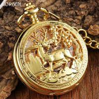 Luxus Goldene Blume Deer Carving Design Mechanische Taschenuhr FOB Taille Kette Hohl Steampunk Skeleton Hand Wind Herren Uhr