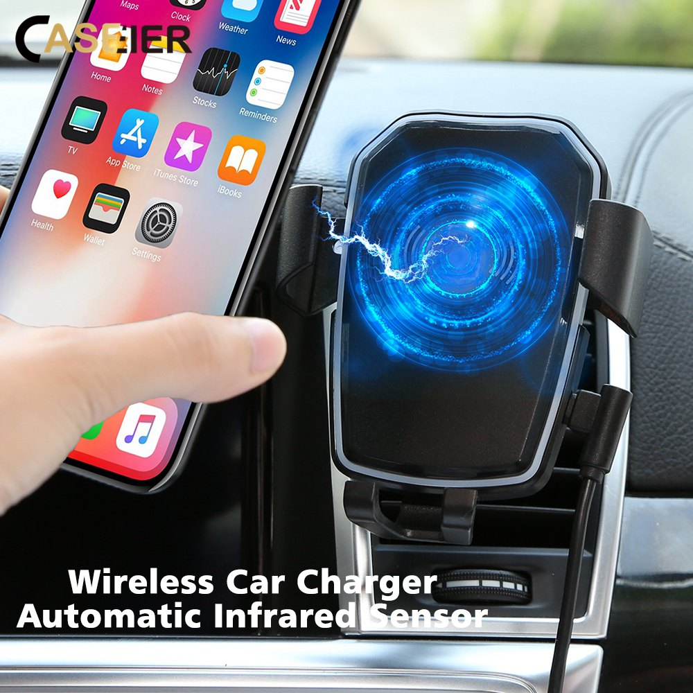 CASEIER Wireless-Charger Car-Phone-Holder Fast-Charging S7 Samsung S9 IPhone Xs 8-Plus