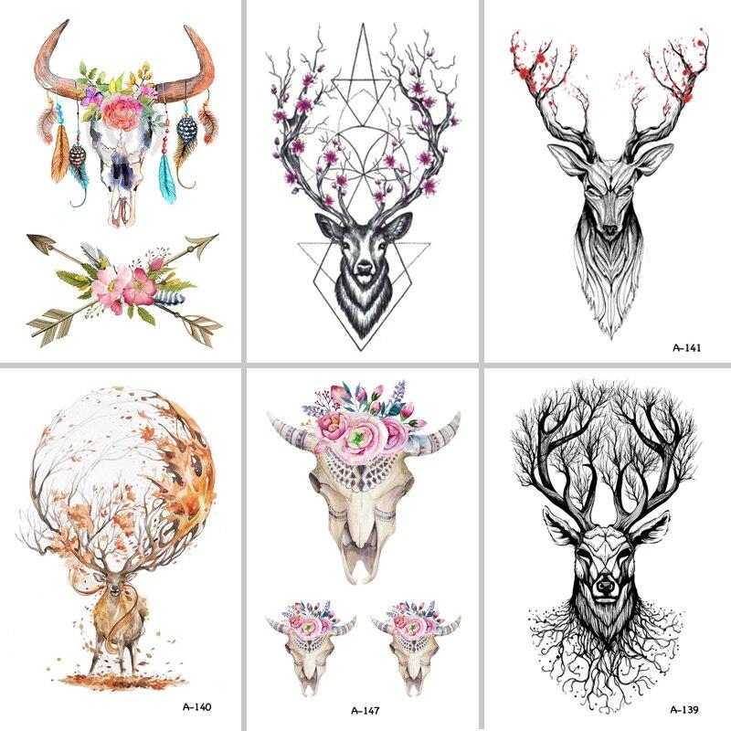 Wyuen Горячие конструкций олень Временные татуировки для Для женщин татуировки Средства ухода за кожей Книги по искусству 9.8x6 см Водонепроницаемый ручной Поддельные татуировки Стикеры лось Животных a-073