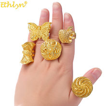 Ethlyn Adjustable Size Gold Color Finger Ring Exaggerated Big Butterfly Shape Rings for Ethiopian/African Women Wedding R58(China)