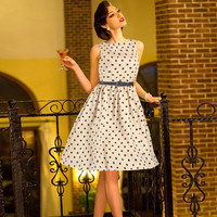 2016 New Retro Women Dress Wave Point Hepburn O Neck Waist Large Dress Poncho Sleeveless Chiffon