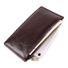 Fashion trend mens Genuine Leather card bagcredit  Multi-function anti-magnetic long section 18