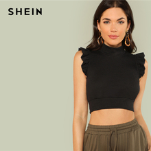 SHEIN Black Elegant Stand Collar Mock Neck Ruffle Armhole Skinny Crop Top Summer Women Party Sexy Solid Vest