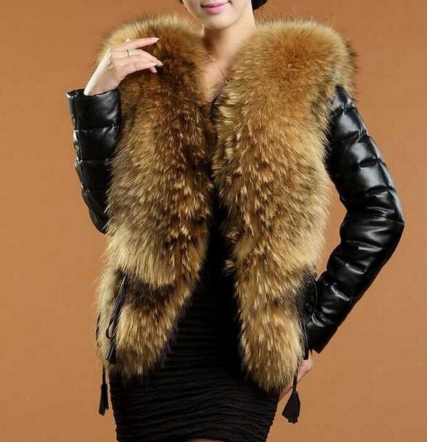 Осень зима мода PU кожа 2016 женщин пальто Из Искусственного меха лисы воротник с длинными рукав короткий дизайн женский пиджак одежда