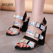 цены BYQDY Summer Women Ankle Strap Sandals Black Hoof Heels Fashion Open Peep Toe Lady Shoes sapato feminino Size 35-40 Slingbacks