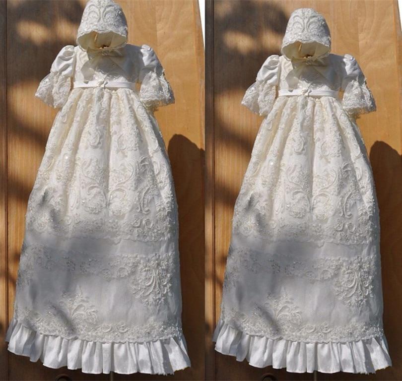 Винтаж Роскошные Белый Кот Детские Обувь для девочек Крещение платье Кружево жемчуг с длинным рукавом Todder платье для крещения с Hat
