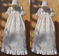 Vintage Luxury White Ivory Baby Girls Christening Gown Lace Pearls Long Sleeve Todder Dress for Baptism with Hat