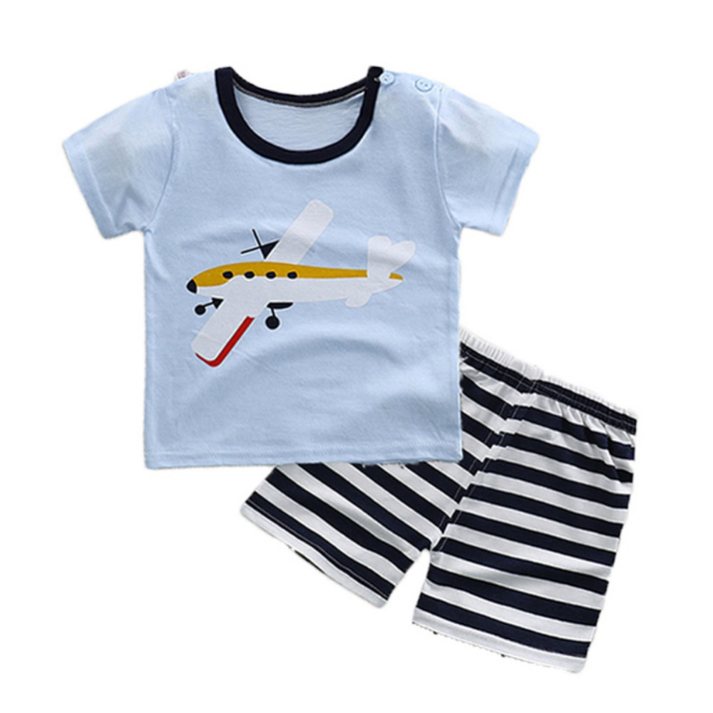 Casual Kids Boys Girls Summer Clothing Sets Cotton Cartoon Short Sleeve T-shirt Tops Stripe Shorts Pants Childrens Sports Suits